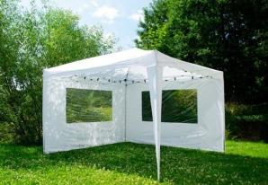 Zahradní párty stan nůžkový bílý 3 x 3 m + 2 boční stěny